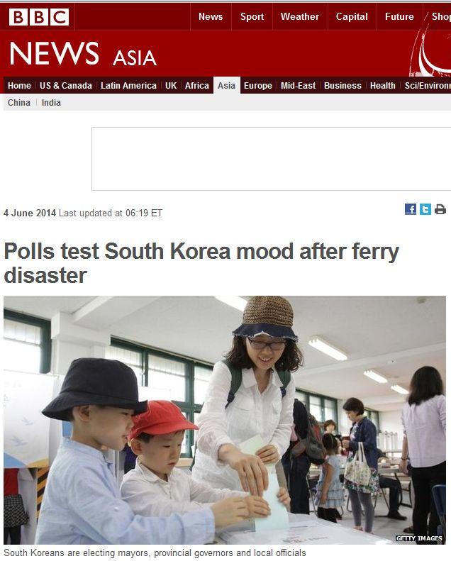 Capture BBC Polls test Kiorea mood after ferry disaster