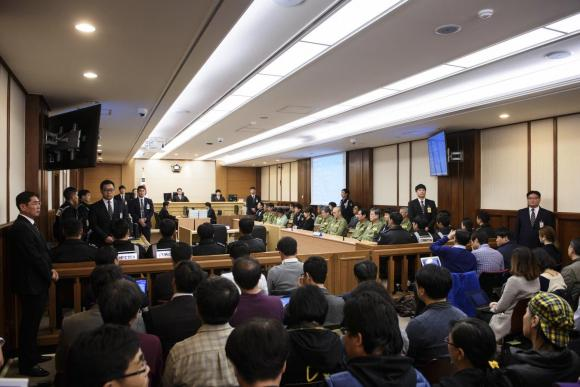 Sewol ferry crew members attend start of verdict proceedings at court room in Gwangju